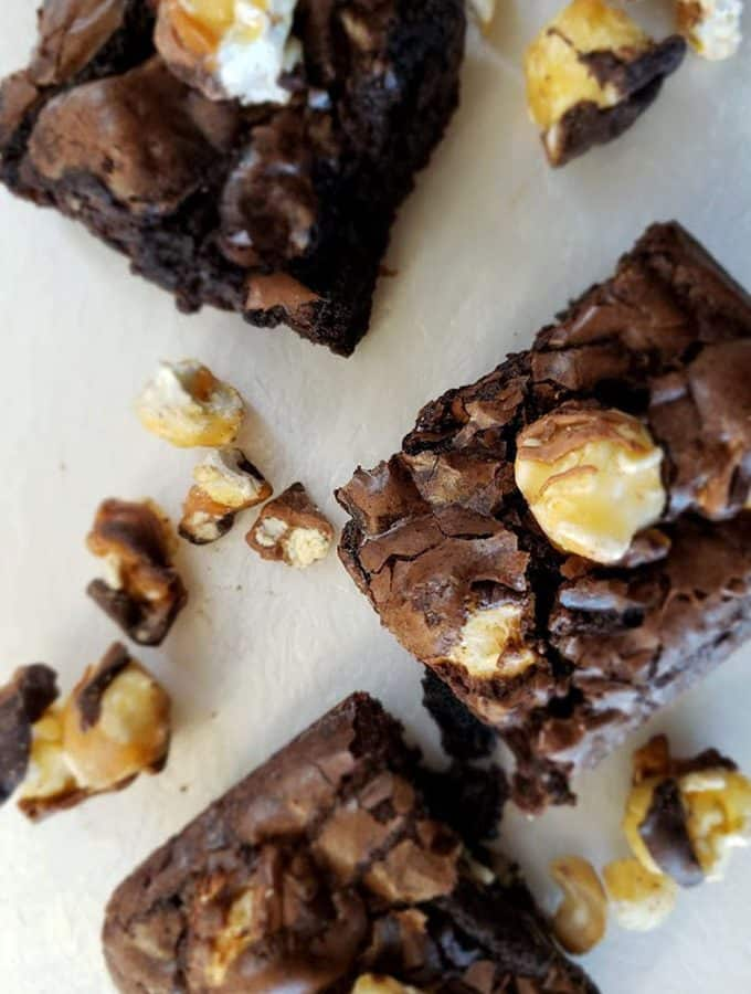 Killer Funky Chunky Popcorn Brownies with Sea Salt Caramel